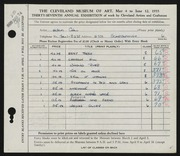 Entry card for Cole, Helen Champney for the 1955 May Show.