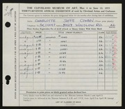 Entry card for Cowan, Charlotte Jaffe for the 1955 May Show.