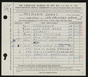 Entry card for Daras, Marie for the 1955 May Show.