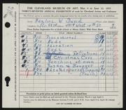 Entry card for David, Adeline Wilkens for the 1955 May Show.