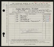 Entry card for Yarlekovic, Emma for the 1955 May Show.