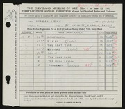Entry card for Eppink, Norman Roland for the 1955 May Show.