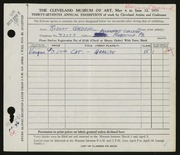 Entry card for Gabriel, Robert for the 1955 May Show.