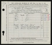 Entry card for Grauer, Natalie Eynon for the 1955 May Show.