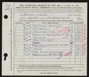 Entry card for Grauer, William C. for the 1955 May Show.