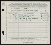 Entry card for Harty, Stephen Thomas for the 1955 May Show.