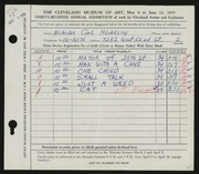Entry card for Hlobeczy, Nicholas for the 1955 May Show.