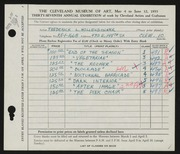Entry card for Hollendonner, Frederick Lener for the 1955 May Show.