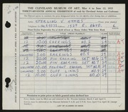Entry card for Hykes, Sterling V. for the 1955 May Show.