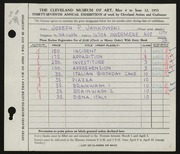 Entry card for Jankowski, Joseph Paul for the 1955 May Show.