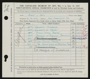 Entry card for John, Betty for the 1955 May Show.
