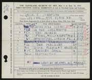 Entry card for Johnson, Jack E. for the 1955 May Show.