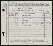 Entry card for Kastner, John B. for the 1955 May Show.