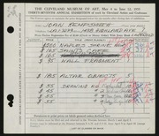 Entry card for Kempsmith, Joan for the 1955 May Show.