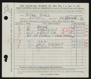 Entry card for Kord, Victor for the 1955 May Show.