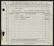 Entry card for McBeath, George R. for the 1955 May Show.