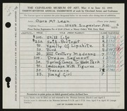 Entry card for McClean, Clara for the 1955 May Show.