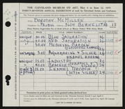 Entry card for McMillen, Dorothy Ruby for the 1955 May Show.
