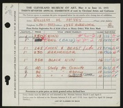 Entry card for McVey, William Mozart for the 1955 May Show.