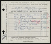 Entry card for Manning, Wray for the 1955 May Show.