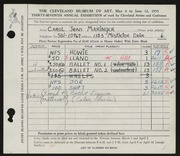 Entry card for Maringer, Carol for the 1955 May Show.