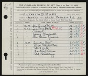 Entry card for Miles, Elizabeth B. for the 1955 May Show.