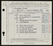 Entry card for Miles, Eugene R. for the 1955 May Show.