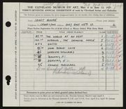 Entry card for Moore, Janet Gaylord for the 1955 May Show.