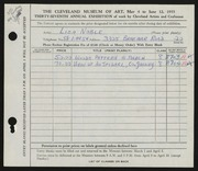 Entry card for Noble, Liza for the 1955 May Show.