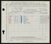 Entry card for O'Hara, Jean for the 1955 May Show.