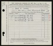 Entry card for Orner, Rose R. for the 1955 May Show.