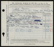 Entry card for Parshall, Harriet Jane, and Riddle, Arden for the 1955 May Show.