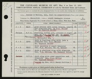 Entry card for Potter and Mellen , and Miller, Frederick Anson; Weiser, Raymond T.; Hallqvist, Solve Carl for the 1955 May Show.
