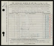 Entry card for Cass, Caroline Pickands for the 1955 May Show.