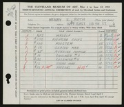 Entry card for Roth, Henry E. for the 1955 May Show.