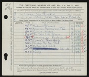Entry card for Stern, Lonnie Joy for the 1955 May Show.