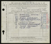 Entry card for Scott, Sam for the 1955 May Show.