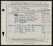 Entry card for Shaw, Elsa Vick for the 1955 May Show.