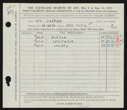 Entry card for Shepko, Lou for the 1955 May Show.