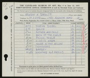 Entry card for Shewitz, Newson H. for the 1955 May Show.