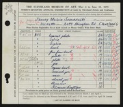 Entry card for Someroski, James Melvin for the 1955 May Show.