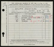 Entry card for Stanczak, Julian for the 1955 May Show.