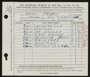 Entry card for Stevens, Angelo for the 1955 May Show.