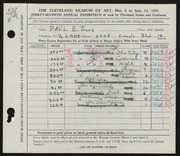 Entry card for Travis, Paul Bough for the 1955 May Show.