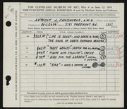 Entry card for Vaiksnoras, Anthony for the 1955 May Show.