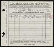 Entry card for Voglein, Nick for the 1955 May Show.
