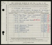 Entry card for Wilkenloh, Lillian for the 1955 May Show.