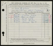 Entry card for Wilson, Tom M. for the 1955 May Show.