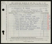 Entry card for Wood, Kenneth A. for the 1955 May Show.