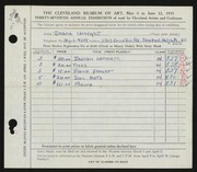 Entry card for Wright, Diane for the 1955 May Show.